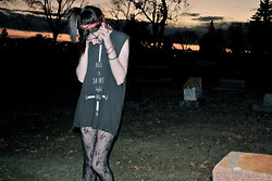 Paulina C - Destroyed Hell Tee, American Apparel Head Scarf - I Visit Graveyards