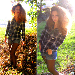 Ori Schneider - H&M Checkered Shirt, H&M Denim Shorts, H&M Clock Necklace, American Eagle Silver Shoes - Slowing down my steps, it goes too fast