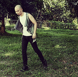 Chris Dela Cruz - Marc Tana Vest, Sleeveless White Shirt, Dr. Martens Army Boots, Bench Skinny Jeans - RUNAWAY