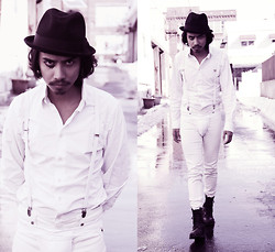 Denny Balmaceda - American Apparel White Button Up, American Apparel Aa White Skinny Suspenders, American Apparel White Skinny Jeans, Flea Market Vintage Boots, Urban Outfitters Brixton Fedora - A Clockwork Orange