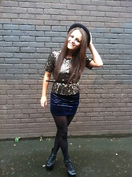 Megan Meenan - Topshop Top, River Island Hat, Boots - Velvet and sequins