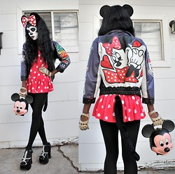 VintageVirgin Jessica - Thrifted Ears And Tail, Vintage Diy Studded Platform Mary Janes, Diy Studded Bow, Vintage Mickey Mouse Head Bag, Vintage Leather Minnie Mouse Jacket, Vintage Leather Gloves - Hey Mickey...DIE!