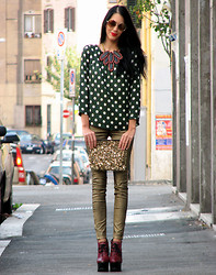 Konstantina Tzagaraki - Topshop Lace Up Booties, Zara Golden Pants, Marni Necklace - I will always have spare dots for you!