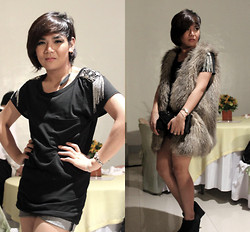 Pat Villamor - Studded Shirt, Oversized Fur Vest - Studs and Fur