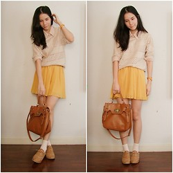 Kapongpeang K. - Nude Sweater, Soft Pink Shirt, Yellow Pleated Skirt, Oxford, Brown Bag - Nude & Yellow