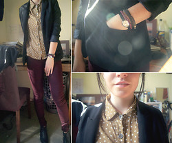 Courtney Lee - Alice In The Eve Blazer, Don't Ask Amanda Polka Dot Shirt, Topshop Berry Jeans, Windsor Smith Brogue Boots, Sportsgirl Watch - Don't let go, just breathe slow
