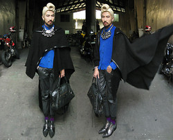 "Andre Judd - Snake Bangles, Wedge Pendants In Silver, Swirl Chain Neckpiece, Swirl Hair ""The Tunnel"", Marlon Rivera Aw2011 Fuzzy Wooly Comfy Hooded Multi Functional Cape, Leathery Finish Twill Carrot Fit Trousers With Rolled Hem, Bright Purple Socks, Tokyo, Japan Pointed Gunmetal Ankle Booties With Hardware And Sequins, Balenciaga Bag, Pyramid Earring, Uniqlo Bright Blue Button Down - WINGARDIUM LEVIOSA - PFW day 5"