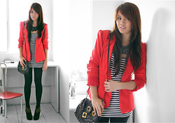 Cheyser Pedregosa - Romwe Red Blazer, Chick Flick Studded Booties, Crystal Necklace, Topshop Tights - A Dash of Red