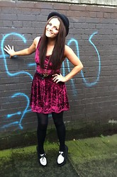 Megan Meenan - Topshop Dress, Bowler Hat, Creepers, Urban Outfitters Necklace - Red Velvet