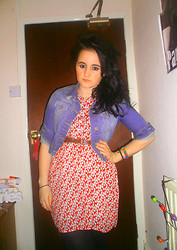Ashley M - New Look Denim Jacket, Primark Belt, Vintage Fair Dress - Theres a side to you that I never knew