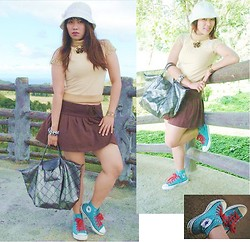 Madeline Camille Agustin - Bangkok Market Gold Choker, Nagoya Wool Hat, Chanel Knitted Wool Top, Express Chocolate Skirt, Long Champ Tote, Converse Chuck Taylor - Au CHOCOLAT