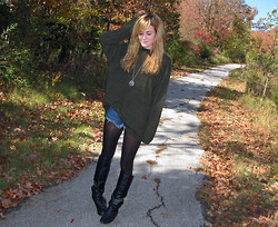 Niki Adams - Thrifted (Goodwill) Sweater, Hollister Shorts, Wal Mart Tights, Chinese Laundry Boots - Brrrr.