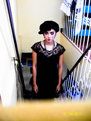 Ivana Villanueva - Claire Silvery Gray Pearl Necklace,   Lacey All Black Dress - Halloween is still on...