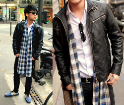 Hanz Go - Pedro Two Toned Loafers, Pedro Reversible Leather Belt, H&M Plaid Scarf, Japan Leather Jacket - Don't call it a comeback