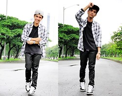 Aaron Joseph Ravina - New Era Cap, Plaid Polo, Bosini Black Sweater, Penshoppe Pants, Nike Kicks - AJ1