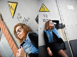 Monika Martinso - Found At Home Black Velvet Dress, Diy Denim Vest, Seppala Sunglasses, New Yorker Rings, Local Shop Tights - Wasted electricity