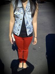 Ashley Romero - Diy Denim Vest, Forever 21 Tank, Forever 21 Pants, Steve Madden Fish Scale Flats - Red, red... Pants.