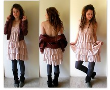 Abby Yoyo - Red Leather Jaket, H&M Pink Layered Dress, Matisse Croc Booties - Dainty little devil
