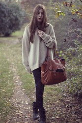 Melen 242 - Bigstar Grandpa's Sweater, Pieces Leather Bag, Burlington Tights, Zara Biker Boots - Big sweater