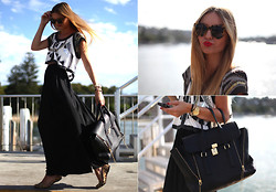 Jessica Stein - 3.1 Phillip Lim Pashli Bag, Karen Walker Number One Tortoise Shades, Zara Wide Leg Pants - Tortoise