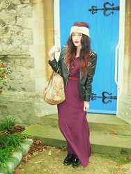 Demi Lauren Abbott - Dr. Martens Dr, Forever 21 Maxi Dress - Plum.
