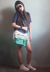 Francia Lailanie Boayes - Guess? Top, Levi's® Shorts, Cambridge Green Satchel Bag - My First Cambridge Satchel Bag (and i want more!!)