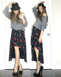 Lena Antonacci - American Apparel Grey Sweater, Vintage Diy Fishtail Floral Skirt, Steve Madden Suede Stiletto Heels - Fishtail