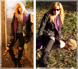 Meg C - Current / Elliot Jeans, American Apparel Tee, April 77 Jacket, Timberland Boots, Ray Ban Glasses - The cloisters