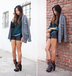 Aimee Song - C. Wonder Stripe Sweater, Miista Andee Boots - Pretending to be deep in thoughts..