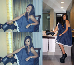 Dana Dela Torre - Dollhouse Denim Dress, Dubai Heelless Shoes - No Make up, Just Heelless Shoes