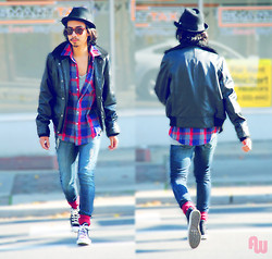 Denny Balmaceda - Urban Outfitters Leather Jacket, Converse Chuck Taylors - Walk Hard.