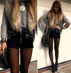Nicola Kirkbride - Topshop Studded Shorts - Studs and Fur
