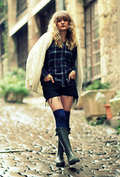 Aurélia M - Hand Made Cardigan, H&M Socks, Aigle Boots - French country