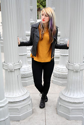 Kimberly Grace . - Sessun Mustard Sweater, Forever 21 Jacket, Bdg Jeggings, Seychelles Boots - Regrets collect like old friends...