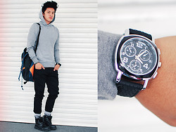 David Guison - Topman Grey Hoodie, Sm Accessories Bag, Sm Accessories Pants, Topman Socks, Caterpillar Boots, Sm Accessories Watch - Cold Blood