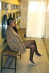 Zizzi's Wardrobe - My Friend's, Thrifted Faux Fur Coat, Primark Peep Toes, Ebay Fishnet Tights - Suck It And See...