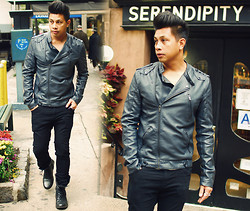ALLEN M - Urban Outfitters Leather Jacket, River Island Spoon Neck Inner Shirt, H&M Super Skinny Pants, New Look Combat Boots - SERENDIPITY  11.11.11