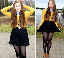 Essi S - Primark Sweater, Ally Skirt, Zara Heels, Primark Owl Necklace, H&M Button Up Shirt - God put a smile upon your face