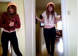 Abby Yoyo - Yoyo Hat, Red Leather, Fav Jeans, Red Light Seattle Cropped Lace - Double Dare