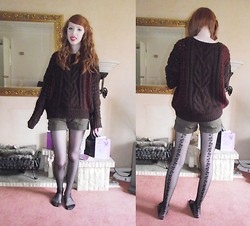 Charlotte Kinsella - Self Knitted Jumper, Shorts, Flower Laced Tights - Woolies and tights.