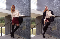 Nadia Sepulveda - Pull & Bear Lace Burgundy Skirt - Sacrifices and sexiness