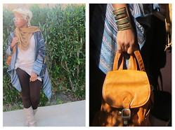 Tori Shalea' - Random Hat, Coldwater Printed Cardigan, Forever 21 Tshirt Dress, Forever 21 Brown Leggings, Random Boots, Random Leather Backpack Purse - MONOTONE MORNINGS