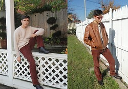 Abraham H - Ray Ban Wayfarer, Vintage Leather Jacket, Lucky Brand Slim Bootleg Chords - Timewarp
