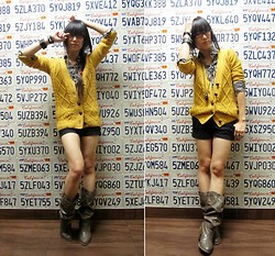Josephine Chang - H&M Black And White Button Down, Forever 21 Yellow Knit Sweater, B.P. Black Shorts, Ross Brown Cowboy Boots, Random Places Assorted Accessories - 11.11.11