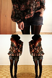 Laura C - Winner's Floral Blouse, Siren's Studded Jean Shorts, Aldo Combat Boots - Floral For Fall
