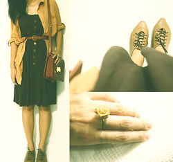 Jenny Z.Qiaopo - Rosey Ring, Cotton On Blouse, Vintage Bag, Knee Length Dress, Shoes - Back to the Old Times.