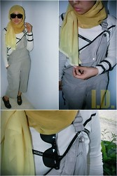 Ichabella Darmawan - My Sister's :P Light Grey Midi Jumpsuits, Creamy Shirt, Local Moslem Shop Named Karita Gradation Lemon Colored Scarf - Jump you high, Lemonade!