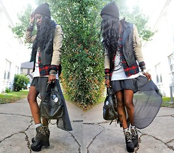 VintageVirgin Jessica - Romwe Two Toned Leather Trench Jacket, Pendleton Vintage Tartan Plaid Shirt, Zara Mullet Chiffon Skirt, H&M Nirvana Tank, Diy Customized Spikes/Studs Jc Tardy Boots, Vintage Leather Backpack Purse - (insert NIRVANA song, dude)