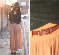 Nesha W - Thrifted Cardigan, H&M Belt, Topshop Trousers, Topshop Heels, H&M Floppy Hat, American Apparel Bracelets - Coffee?