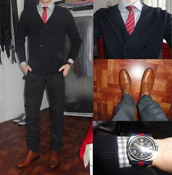 Ross D - Wegner Swiss Watch, H&M Double Breasted Cardigan, H&M Gingham Dress Shirt, H&M Tie, Gap Pants, To Boot New York Wingtips - Styled